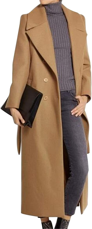 Suncolor8 Women's Long Regular Fit Wool Wlend Warm Lapel Trench Pea Coat Jacket Overcoat
