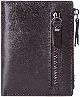 TOOGOO New First Layer Cowhide Mens Wallet Men Zipper Short Coin Purse Brand Male Cowhide Wallet Multifunction Small Wallets Black