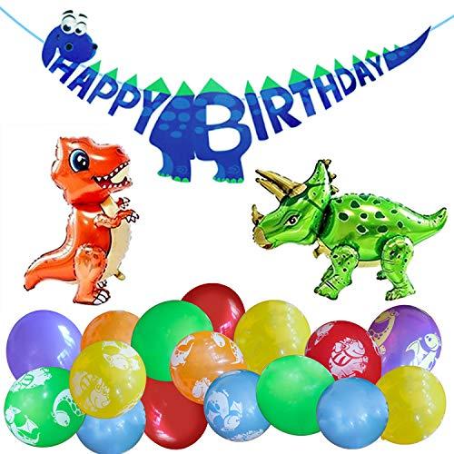 LumeeStar Kindergeburtstag Deko Dinosaurier Party für Jungen und Mädchen Happy Birthday Girlande 3D Folienballons T-Rex und Triceratops Luftballons mit Motiv
