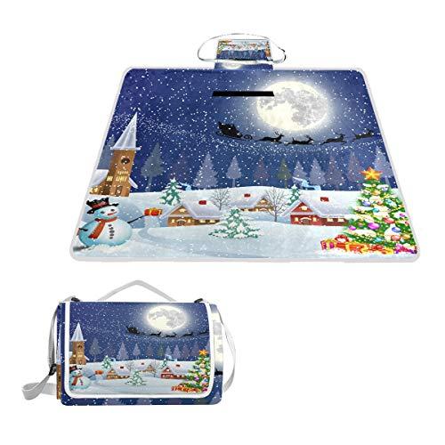 LZXO Jumbo-Picknickdecke, faltbar, Weihnachtsbaum, Schneemann, Mond, groß, 145 x 150 cm, Wasserdicht, handliche Matte, für Outdoor-Reisen, Camping, Wandern.