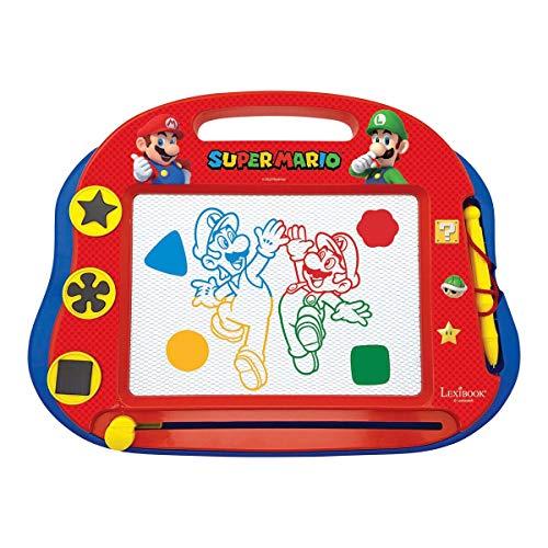 LEXIBOOK- Tablero de Dibujo magnético mágico Multicolor Nintendo Super Mario, Juguete Creativo artístico Muchachos, Pluma de la Aguja y Sellos, Azul/Roja