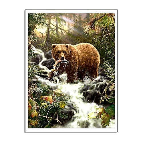 Liluozsh kunstdruk op canvas, een dier voor het opvangen van vissen in beer-beer, foto, muurschildering, moderne kunstdrukken, voor woonkamer, thuisdecoratie, kunstdruk 50×70cm Zoals getoond