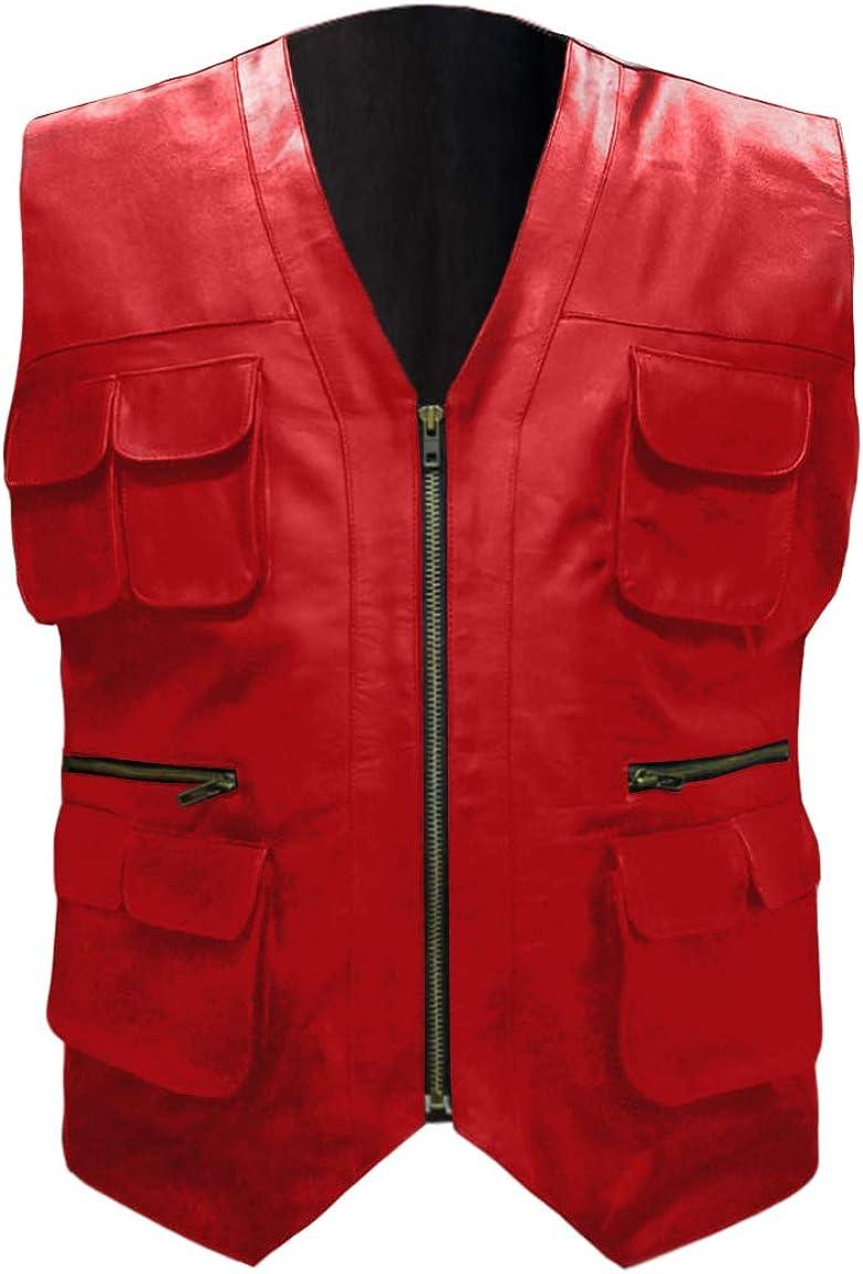 Leather-Haus Men's 半額 ブランド激安セール会場 Stylish Superb Real Leather Bi Genuine Bomber