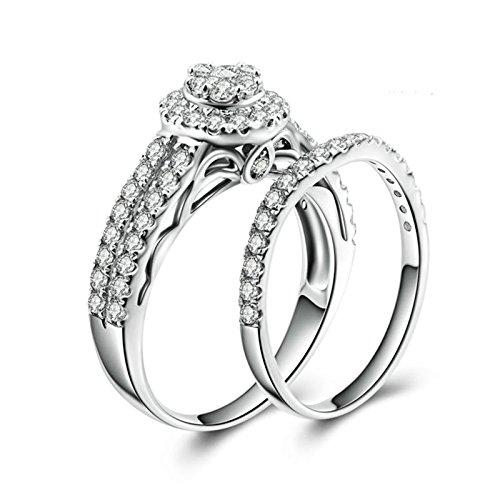 Beydodo Anello Matrimonio Donna in Argento Anello Fidanzamento Donna con Rotonda Brillante Diamante Anelli Impilabili Taglia 10-27