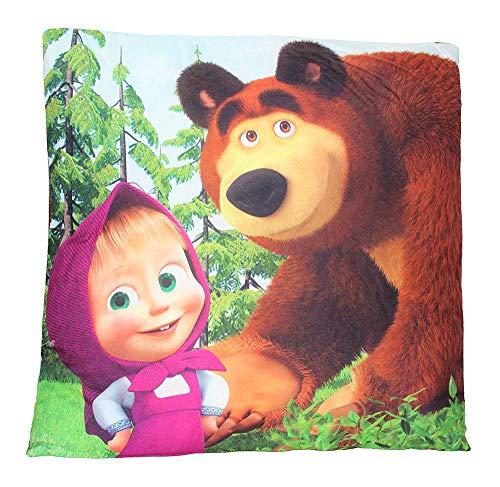 Mascha und der Bär Kissen Motiv im Wald 40 x 40 cm, Sitzkissen, Kopfkissen, Dekokissen mit Öko Tex Standard 100