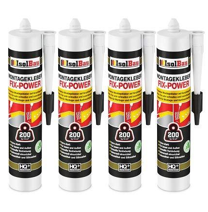 Isolbau Montagekleber FIX-POWER Baukleber Sockelleistenkleber Seistenkleber Kartusche Kraftkleber für saugende Materialien, Kleber für innen & außen, 4 x 480g weiß qualität 200kg / 10cm