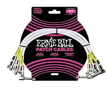 Ernie Ball Instrument Cable White 1 ft