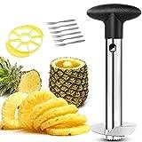 Ananas Affettatrice, Affetta Ananas Taglia,Ananas in acciaio inossidabile 3 in 1,con 1 Affettatrice Staccabile e 6 forchette frutta,Lavabile in lavastoviglie.