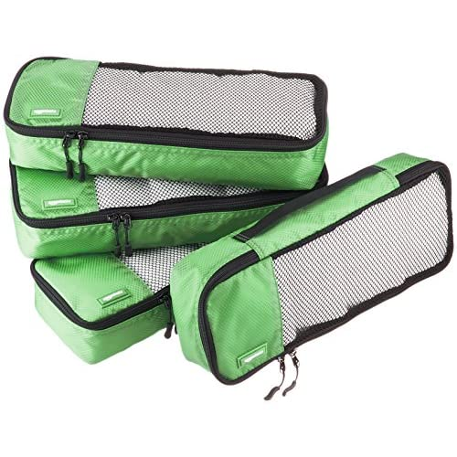 AmazonBasics - Set da 4 cubi organizzatori, misura sottile, Verde