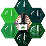 Green Gel Nail Polish, 6 Color Glitter Forest Dark Green Gel Polish Set,Nail Gel Polish Soak Off LED Gel Nail Kit Vanish Manicure Gift Box by Modelones