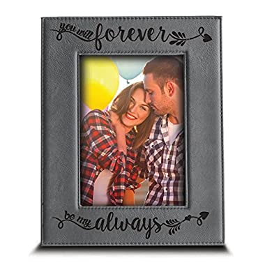 BELLA BUSTA You will forever, be my always Picture Frame - Engraved Leather frame Gift for couple (5 x 7  Vertical)