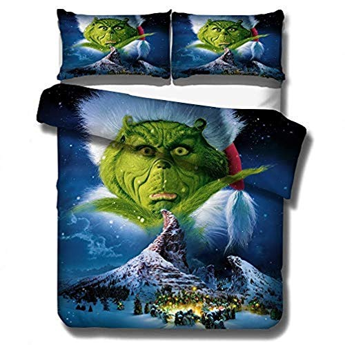 XWXBB Microfibre How The Grinch Stole Christmas Bedding Set - Duvet Cover and Two Pillow Cases Microfibre 3D Digital Print 3-Piece Set, A07, Single 135x200cm