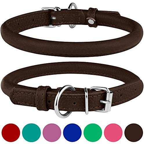 BRONZEDOG Rolled Leather Dog Collar Round Rope Pet Collars for Small Medium Large Dogs Puppy Cat Red...