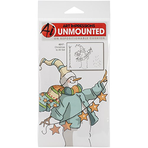 Art Impressions Christmas Cling Rubber Stamp Set, 8-Inch by 4-Inch, Merry Christmas to All