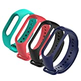 4Pack Compatible with Xiaomi Mi Band 3 Mi 4 Bracelet, Silicon Sport Replacement Strap Wristband Accessories Colorful Mi Band 3 Accessories