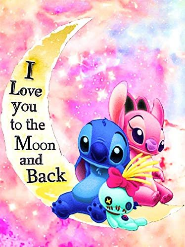 """5D Diamond Painting for Kids & Adults - DIY Cute I Love You to The Moon and Back Diamond Art Painting by Number Kits, Adults' Paint by Diamond Kits (12"""" x 16"""")"""