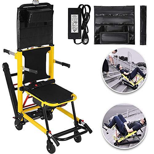 DYHQQ Elektrische Treppe Klettern Rollstuhl Crawler Faltbare Batteriebetriebene Treppe Evakuierungsstuhl Faltbare Mobilität Hilfe-Kann als Hebegeräte Bahre Sein