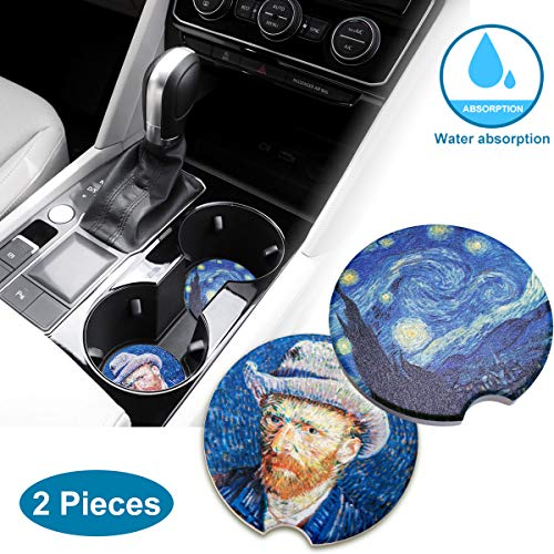 Absorbent Ceramic Car Coasters for Cup Holders, Stone Auto Cupholder Coaster, Small 2.56 inch Car Coasters for Drinks, Best Car Interior Accessory Keep Vehicle Free from Cold Drink Sweat and Stain