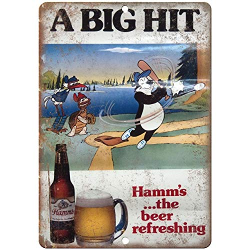 Metal Sign - Hamm's Beer A Big Hit Bear Vintage Look Reproduction Vintage Aluminum Plaques Wall Poster for Garage Man Cave Beer Cafee Bar Pub Club Shop Outdoor Home Decor 8' x 12'