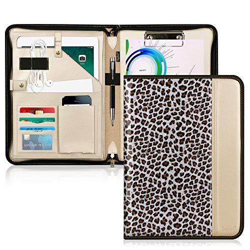 Toplive - Funda portafolios con cremallera, organizador de documentos para empresas con portapapeles tamaño carta/A4, soporte para tarjetas de visita, color B-Leopard plateado
