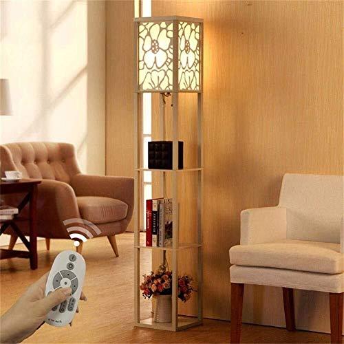 MOZUSA Nordeuropa Stehlampe, die Neue chinesische Moderne Minimalist kreativ Retro Holzbodenleuchten for Wohnzimmer Schlafzimmer Der Lampe Lichtquelle (Color : White, Size : Remote Control Switch)
