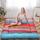Bohemian Retro Floor Mattress Vintage Floral Japanese Futon Mattress Roll Up Tatami Floor Mat Foldable Bed Portable Camping Mattress Sleeping Pad Floor Lounger Couch Bed Twin Size