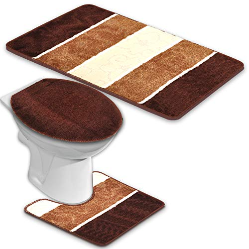 BADGARNITUR ORION 3-TEILIG BADMATTE, BAD SET DUNKEL BRAUN STAND WC, COFFEE