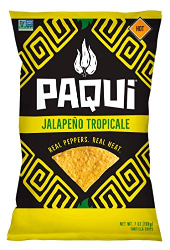 Paqui Jalapeño Tropicale Spicy Tortilla Chips, 5ct, 7 oz Grocery Size Bags, Gluten Free Snacks
