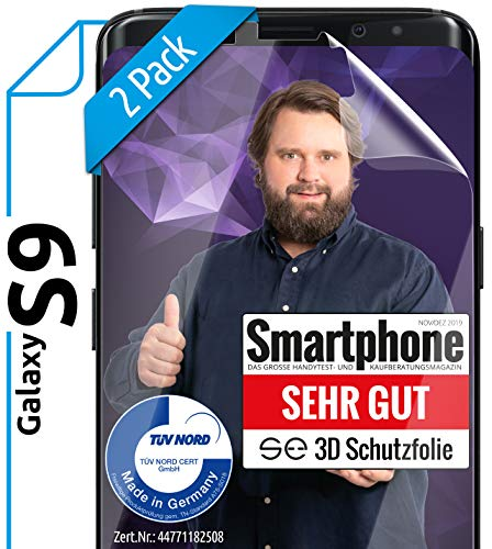 [2 Stück] 3D Schutzfolien kompatibel mit Samsung Galaxy S9 - [Made in Germany - TÜV Nord] – HD Bildschirmschutz-Folie - Hüllenfre&lich – Transparent – kein Glas sondern Panzer-Folie TPU