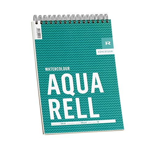 Römerturm Aquarell-Block, DIN A4, 300 g/m², weiß, rau, spiralgebunden, 30 Blatt, 88808859