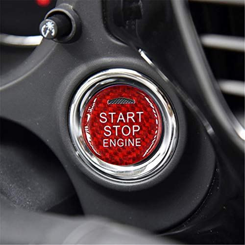 M.JVisun Fibra de Carbono Motor Arranque Paro Botón Pegatinas para Mitsubishi ASX Outlander Eclipse Cross - Rojo