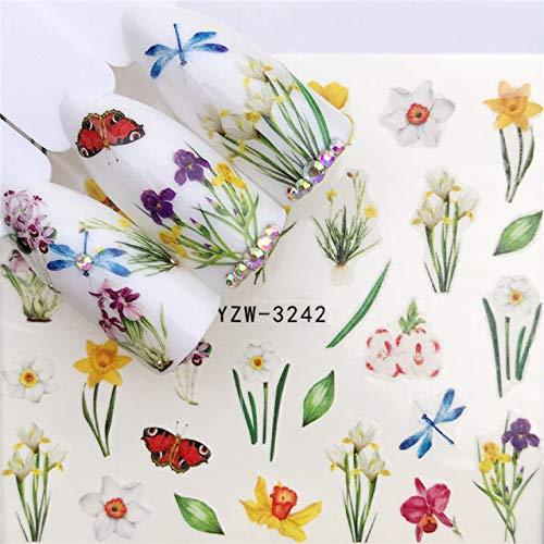 FANHE Autocollants pour ongles1 feuille de fleurs colorées/herbe verte/lavande ongles autocollants autocollants de transfert d'ongle accessoires astuce outil de manucure