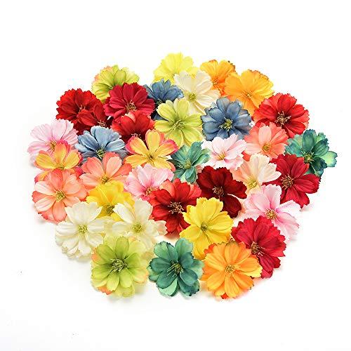 NWSX Künstliche Blumen, Kunstblumen Köpfe, Seidenblumen im Verlierer Schüttung Großhandel, Seidenrose, Blütenköpfe für Hochzeitsdekoration 50 stücke 4CM (Multicolor)