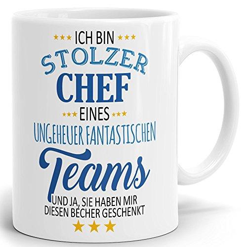 Tasse mit Spruch stolzer Chef eines Teams. Hochglänzender Kaffeebecher ab 1 Stck Mug/Cup Qualität Made in Germany