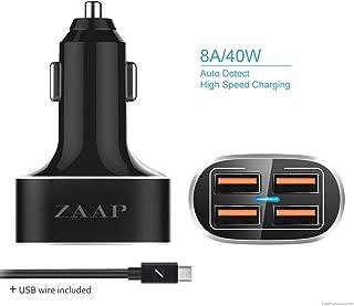 ZAAP (USA) Four Port Turbo USB Aluminium Car Charger + USB Cable Combo 40W/8 Amp- 4 Port USB Car Charger,Black