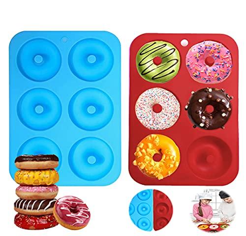 2 Piezas Molde para Donut de Silicona,Moldes Silicona para Rosquillas,Moldes de Silicona Donut,Moldes para Dónuts,Molde de Donuts para Hornear Moldes para Pasteles,Magdalenas,Galletas