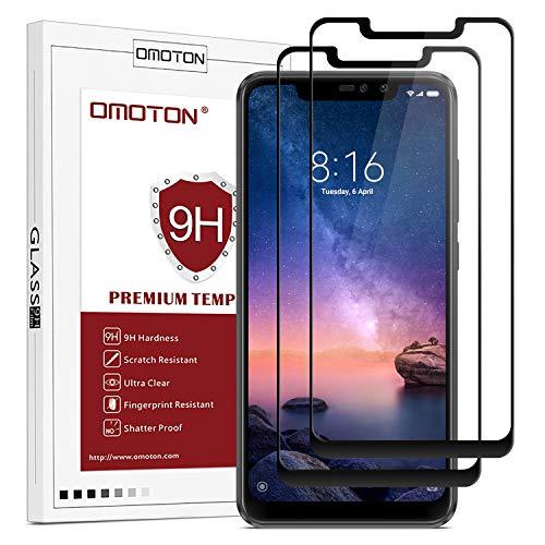 OMOTON Protector Pantalla Xiaomi Redmi Note 6 Pro Protector de Pantalla Redmi Note 6 Pro Cristal Templado, Cobertura Completa, Anti- despegamiento, Anti-Burbujas, Anti-arañazos [2 Piezas]