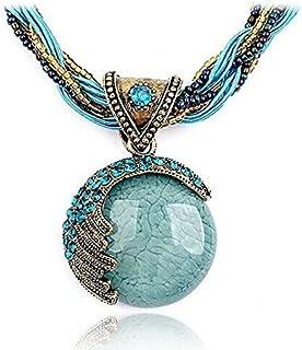 Bohemian Jewelry Statement Necklaces Women Rhinestone Gem Pendant Collar