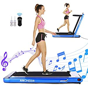 ANCHEER Folding Treadmill, Under Desk Smart Electric Treadmill with Remote Control and Bluetooth Speaker & LCD Monitor…
