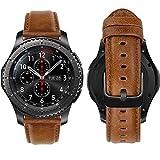 MroTech Correa Compatible con Huawei Watch GT 2/GT 46mm Sport/Classic/Active/GT2 Pro/GT 2e Pulsera Cuero Repuesto para Samsung Gear S3 Frontier/Galaxy Watch 46mm/Watch3 45mm Banda 22mm-Classic Marrón