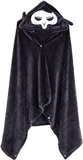 Indoor Cloak Winter Warm Hoodie Reaper Design Black Flannel Cosplay Cloak