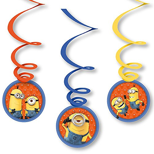 amscan 6 Swirl Deko Wirbel Hängedeko Minion Minions Kindergeburtstag Party
