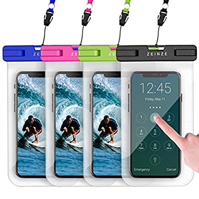 """ZEINZE 4 Pack Waterproof Phone Case Universal Waterproof Phone Pouch Dry Bags for iPhone 11 Pro Max XS Max XR X 8 7 6S Plus Galaxy Pixel Up to 6.5"""" by ZEINZE"""