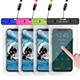 """ZEINZE 4 Pack Waterproof Phone Case Waterproof Phone Pouch Dry Bags for iPhone 11 Pro Max XS Max XR X 8 7 6S Plus Galaxy Pixel Up to 6.5"""""""