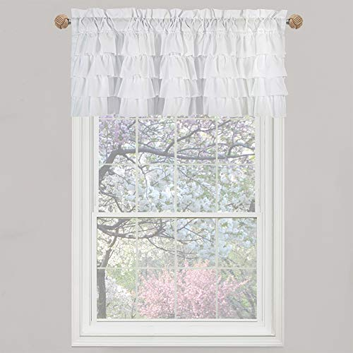 WestWeir White Ruffle Farmhouse Valance - Shabby Chic Layered Curtain for Bedroom (Set of 2)