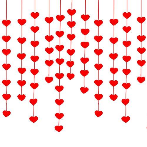 Cortina del corazón Cadena colgante DIY Decoración la boda mántica Flor tirón Guirnalda roja Tela no tejida Suministros cumpleaños Fiesta matrimonio Fiesta Día San Valentín