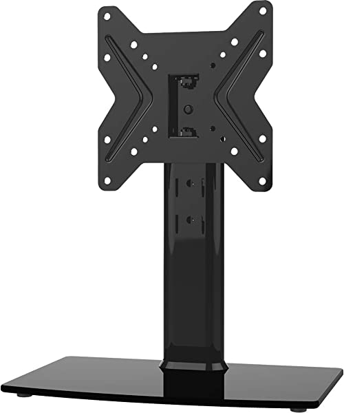 Universal Swivel TV Stand Base Table Top TV Stand For 19 To 39 Inch TVs With 90 Degree Swivel 4 Level Height Adjustable Heavy Duty Tempered Glass Base Holds Up To 99lbs HT02B 001 Renewed