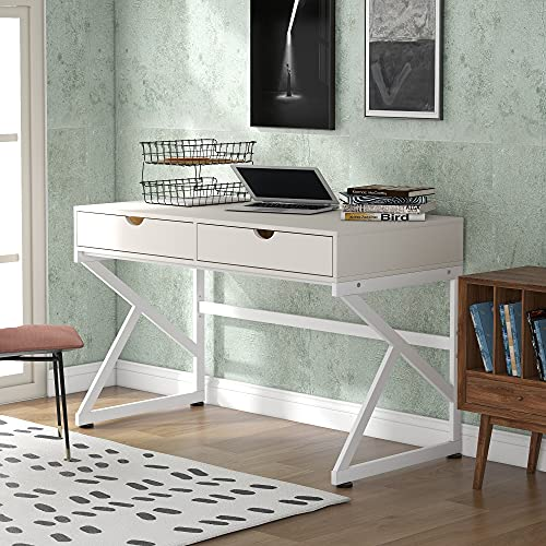 LIFE CARVER Home Office Desk Study Computer Desk with 2 Storage Drawers & K-shaped Steel Frame, PC Laptop Workstation Writing Desk, Easy Assembly (White_2)