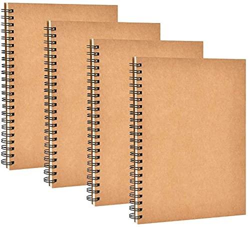 Wuhanyimang 4 cuadernos de dibujo A5, portada de piel de vacuno, cuaderno de dibujo de 50 páginas, color blanco, usado para notas, pintura y graffiti, marrón 21 cm x 14 cm.