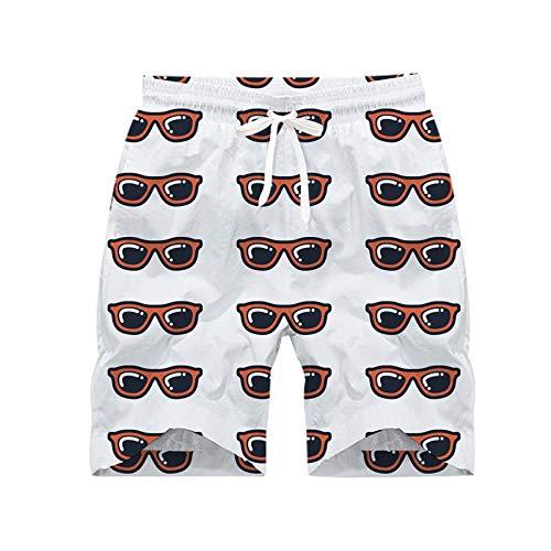 Blwz herenshorts, voor strand, zonnebril, bedrukt, 3D-badpak, sneldrogend, voor de badkamer, voor het strand